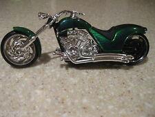 IRON CHOPPER MOTORCYCLE DIE CAST 1:18 SCALE WORKING STEERING FREEWHEELING GREEN