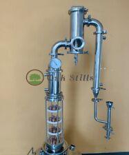 4 inch Alcohol Distiller Glass Flute Still Column with Gin Basket