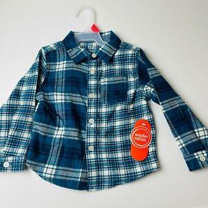 Wonder Nation Boys 2T Long Sleeve Button Up Flannel Shirt Blue Plaid