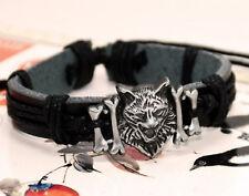 Genuine Leather Viking/Wolverine/Pagan Wolf Head  Adjustable Bracelet