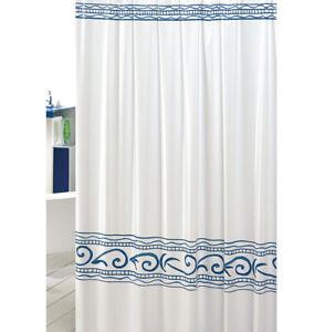 Shower Curtain Bathroom Greek Mold PVC Waterproof Hooks Items Made IN Italy