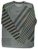 Nike Mens drifit Techknit Running Long Sleeve Shirt Bv5392 Gray black large