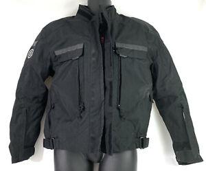 FirstGear Armored Moto Jacket Size Large RN 90261 Black Weatherproof YKK Zippers