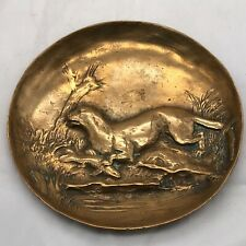 ANTIQUE VICTORIAN SIGNED BERNDORF BRONZE OTTER HUNTING FISH PIN TRINKET DISH