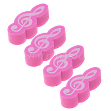 4 Pcs Stationery Music Note Rubber Pencil Eraser Gift Pink