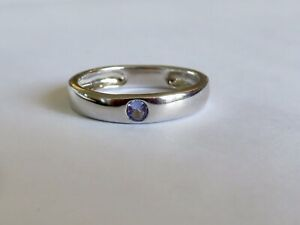 TANZANITE BAND RING IN SOLID STERLING SILVER