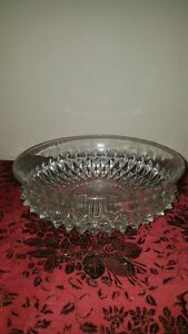 Vintage Indiana Glass Diamond Point Clear Pattern Large Bowl Centrepiece.