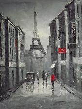 Noir Blanc Rouge Paris Cityscape grande peinture à l'huile toile art français original