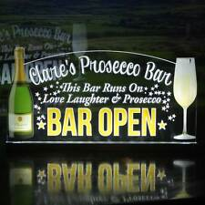 "PROSECCO LED Sign, Personalised Illuminated Bar Sign, Light up Pub Sign 12""x6"""