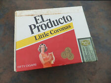 "Small Clean Vintage EL Producto Little Coronas Cigar Box - 6.25"" x 5"" x 2"""
