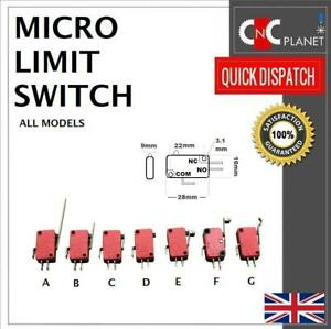 Micro Limit Switch Hinge Roller Lever CNC Router Plasma 3D Printer NO NC UK FAST