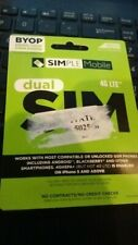 20 Simple Mobile Dual Sim Card for T Mobile network-unlocked Gsm phones 2 in 1