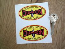 "Champion Spark Plugs De Preguerra Estilo Oval adhesivos para coches de 3,5 ""par offy Hwm Bicicleta Carrera"