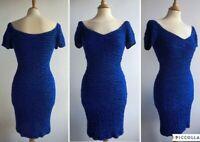 RIVER ISLAND Royal Blue Bodycon Dress Bardot Off the Shoulder Size 12