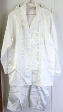 Women's Sleepwear PJs Pajamas by ALLISON RHEA White Satin feel SMALL NEW w/o tag