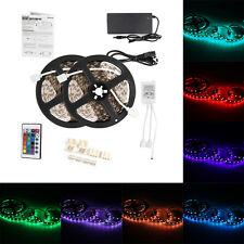 2 x 5m 5050 SMD LED RGB Leiste Strip Streifen Band+ Fernbedienung+ 120W Netzteil