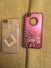 2 X iPhone 4 4s Cases Purple White Lace Pearls Diamonds