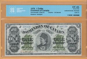 Dominion of Canada Payable Montreal $1 1878 DC-8eiii-M CCCS-45 EF Banknote