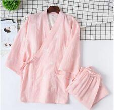 New Chinese Japanese Oriental Pink Stars Ladies Kimono Long Pyjamas Set ladpj244