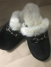 Rest Your Soles Collection Eighteen Black Suedelike Scuffs Slippers Sz 9-10 NWT