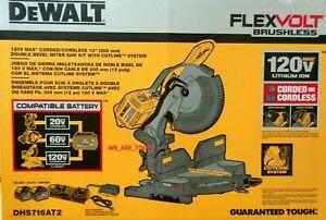 "NEW Dewalt DHS716AT2 Flexvolt 120 Volt MAX 12"" Dual Bevel Compound Miter Saw Kit"