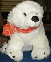 Flauschiger Eisbär mit Schal / ca' 36 x 20 x 24 cm