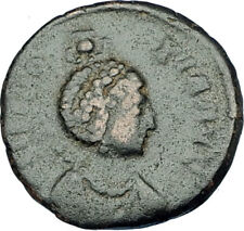 EUDOXIA Arcadius Wife 401AD Authentic Ancient Roman Coin VICTORY CHI-RHO i65894