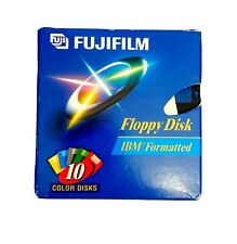 "FUJIFILM Box of 10 IBM Formatted Floppy Disks-Color Disks-Fuji-3.5""-w/ Labels"