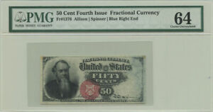 50 Cent Fourth Issue Fractional Currency PMG Choice UNC 64 Fr #1376