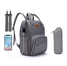 Babytasche Wickelrucksack Wickeltasche Pflegestasche set mit USB+ Flaschentasche