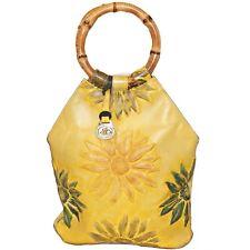 Retired Brahmin Sunflower Embossed Leather Bucket Tote Bag Bamboo Handles