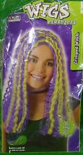 2004 PMG Halloween Wigs CRIMPED WITCH Wig Ages 8+ Purple Green Highlights