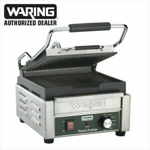 Waring WPG150 Compact Italian Style Panini Grill 120 Volt Ribbed top/bottom wow!