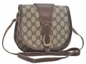 Authentic GUCCI Shoulder Cross Body Bag GG PVC Leather Brown Beige D3694