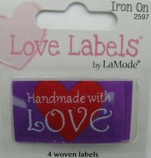HANDMADE WITH LOVE Woven Labels (Qty-4) Iron-On/Sew-In