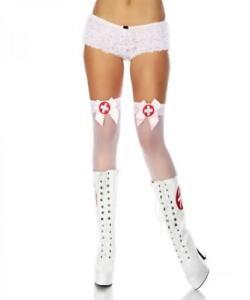 Sexy Womens White Sheer Nylon Stockings Hold Ups Stay Ups Nurse Halloween XS-M