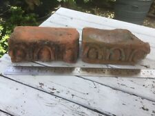 2 Gloriously Dug Up Ornate Bricks Highly Vintage Reclaimed Salvage