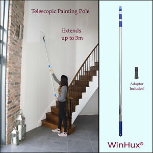 WinHux® 3m Extendable Telescopic Pole for Paint Roller & Other Painting Tools