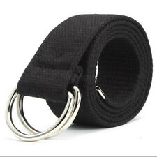 Metal Waistband Double D Ring Buckle Fashion Men Women Wide Waist Belt Canvas