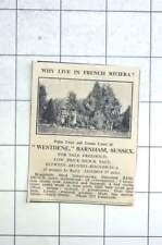 1936 Palm Trees, Tennis, Westdene Barnham Sussex For Sale
