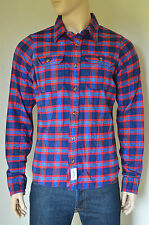NEW Abercrombie & Fitch Lake Harris Flannel Shirt Navy Blue & Red Plaid XXL