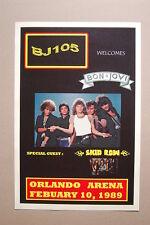Bon Jovi Concert Tour Poster 1989 Orlando Arena Skid Row