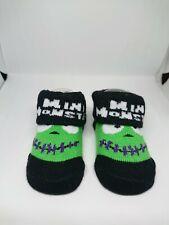 Baby Halloween Socks Size 6-12 Months Black Green Frankenstein Mini Monster Bag