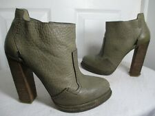 ALEXANDER WANG OLIVE PEBBLED LEATHER HEEL ZIP BOOTIES 37 US 6½ MADE IN ITALY