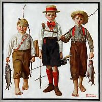 The Catch by American Norman Rockwell. Life Art Repro choose Canvas or Paper