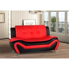 Kingway Furniture Gilan Faux Leather Living Room Loveseat - Black/Red