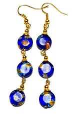 Very Long Gold Blue Millefiori Earrings Glass Bead Drop Dangle Pierced Hook
