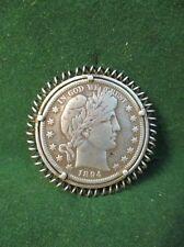 1894 S Barber Half Dollar, serti dans une broche