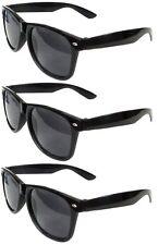MEN Sunglasses Wayfarer Style Black Frame & Dark Lens Classic Retro Vintage 3 PC