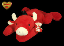 Ty Pillow Pals Bull Red Cow Stuffed Plush Farm Animal 1997 14in With Heart Tag